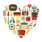 Germany travel heart set — Stock Vector