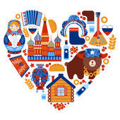 Russia travel heart set — Stock Vector