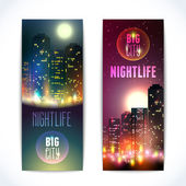 City at night vertical banners — Vettoriale Stock