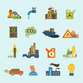Pollution icon set — Stock Vector