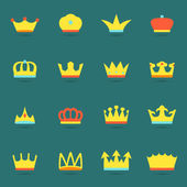 Crown icon set — Vector de stock