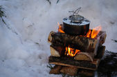 Campfire in the snow — Stock Photo
