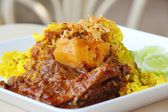 Rice  with  curried  chicken — Stockfoto
