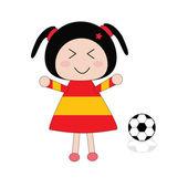 Illustration little girl in Spain football dress — Stock Vector