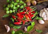 Red chili and many spices — Stock Photo