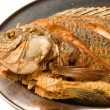 Fried fish in plate — Stock Photo