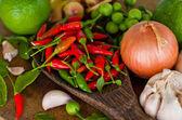 Molti tipi di verdure e spezie — Foto Stock