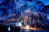 Stalactite wall in caves — Stock Photo