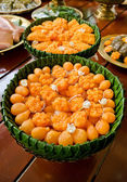 Thai desserts in banana leaf bowl. — Stock Photo