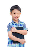 Boy smiles with tablet computer — Stok fotoğraf