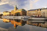 Stockholm embankment with boats — Stock Photo