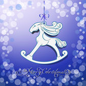 Blue toy horse the symbol of new year — ストックベクタ