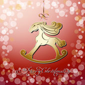 Red toy horse the symbol of new year — Vector de stock