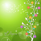 Spring birds singing on a flowering branch — Stock Vector