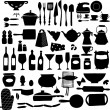 Kitchen tool icon set black and white — Stock Vector