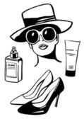 Woman wearing hat and fashion set — Vector de stock