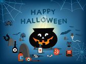 Happy Halloween card. Vector illustration. — ストックベクタ