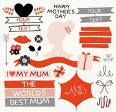 Valentines day, mother's day cards with hearts, ribbon — Stockvektor