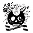 Skull and roses, black and white Day of the Dead card — Stock Vector #38492611