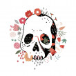 Skull in flowers — Vector de stock