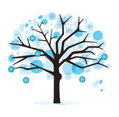 Winter tree isolated on white — Stock Vector