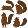 Stock Vector: Squirrel icon set on white background