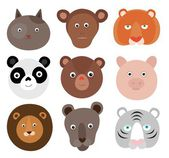 Heads of cartoon animals, on a white background — Stock Vector