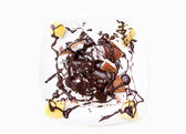 Dish with mixed fruit and chocolate — ストック写真