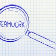Stock Photo: Focusing on teamwork and collaboration, magnifying glass design