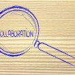 Focusing on teamwork and collaboration, magnifying glass design — Stock Photo