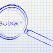 Focusing on budget, magnifying glass design — Foto Stock