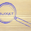 Stock Photo: Focusing on budget, magnifying glass design