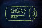 Battery with energy progress bar loading — Stock Photo