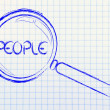 Stock Photo: Focusing on people or humcapital, magnifying glass design