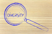 Focusing on diversity and collaboration, magnifying glass design — Stock Photo