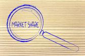 Förstoringsglas, fokus på marknadsandel — Foto de Stock