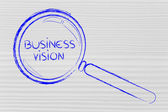 Focusing on business vision and management, magnifying glass des — Stock Photo