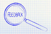 Finding feedback, magnifying glass focusing on feedback — Stock Photo