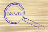Finding growth in business, magnifying glass design — Foto Stock
