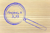 Finding a job, magnifying glass design — Stock Photo