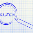 Finding solutions, magnifying glass design — Stock Photo