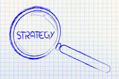 Finding a business strategy, magnifying glass design — Stock Photo