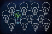 Unique lightbulb with leaves inside, metaphor of green economy — Stock Photo