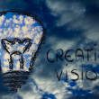 Serene sky inside lightbulb among the storm,creative business vi — Stock Photo