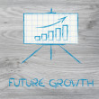Meeting room whiteboard stand with positive stats graph — Stock Photo