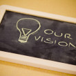 Chalk design with lightbulb, business vision — Stock Photo