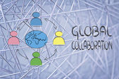 Global business communication, people connected across globe — Stock Photo