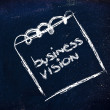 Notepad memo on blackboard, message about business vision — Stock Photo