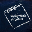 Stock Photo: Notepad memo on blackboard, message about business vision