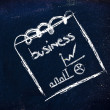 Notepad memo on blackboard, message about business with indexes — Stock Photo